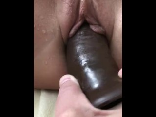 POV Big Dildo Fuck with Squirt and Anal Cream Pie