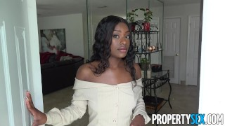 PropertySex – Foxy real estate agent with big natural tits client sex