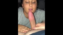 Wife sucks cock and takes massive facial and loves it