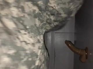 Black soldier rides dildo and cums pt 1