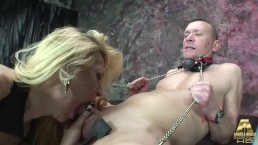 Sara Shiva elegant and nice blonde shemale with a long cock dominates Tommy
