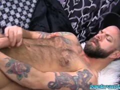 Macho man Ryan Reid pulling his big cock and spraying cum