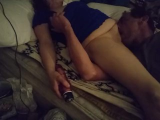 Wet dream getting her pussy.eaten by her husband.