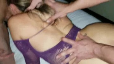 2 GUYS FILL MY INNOCENT WIFE WITH CUM & I LET THEM USE & DESTROY HER HOLES