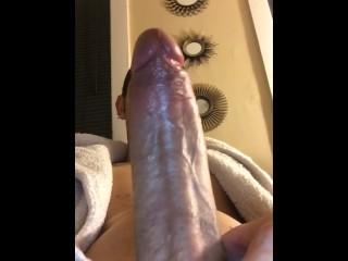 Teen jerking off his big 8inch cock. Dick play