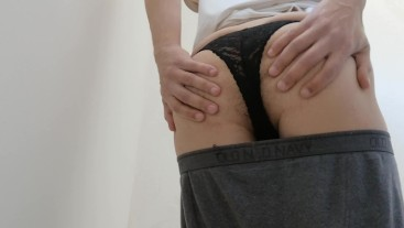 Stripping my shorts and girlfriend's string