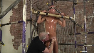 Bound Kenzie Mitch gets his dick teased by Sebastian Kane