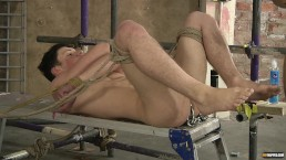 Deacon stretches James little ass with toys before fucking him