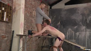 Deacon gives a tied-up Leo a sore throat and a stretched asshole