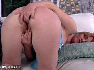 Marie McCray digs into her red hairy pussy