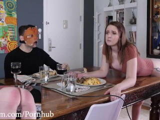 Submissive slave gets punished by brutal spanking machine at dinner table