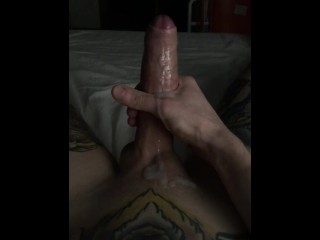 Late night cum all over tattooed stomach