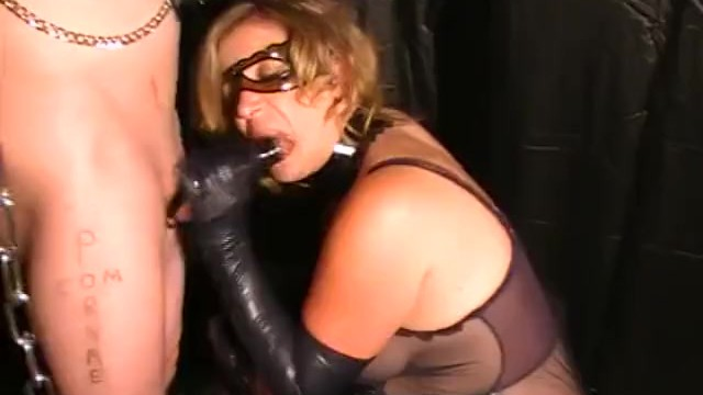Pussy lips milking cock - Sexy blonde in latex gloves mask dom sucks and milks cock cum explosion
