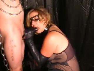 Sexy Blonde In Latex Gloves Mask DOM Sucks and Milks Cock cum Explosion