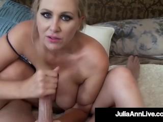 Damn! Milf Julia Ann Mouth Fucks Cock & Gets Facial!