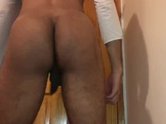 Femboy twerking booty and fingering ass and jerking big cock