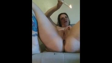 Latina masturbates with lit candle, drips on thighs