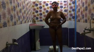 full desi bhabhi sexy in saree dress indian style bathroom fucking in morni
