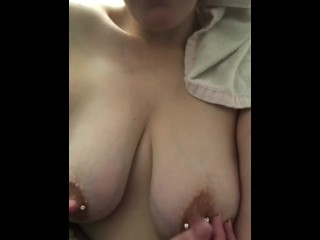 Pierced titty shake and tease