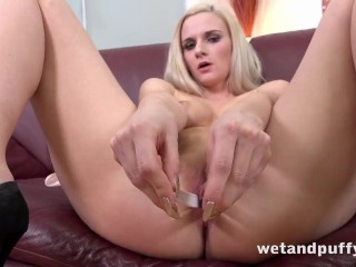 Blonde In Hotpants Orgasms With Big Black Dildo!