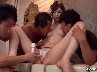 Japanese beauty queen, Kotone Amamiya had exciting group sex, uncensored