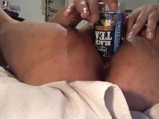 NO TOY NO PROBLEM, BBW SHOVES BOTTLE IN BIG WET PUSSY