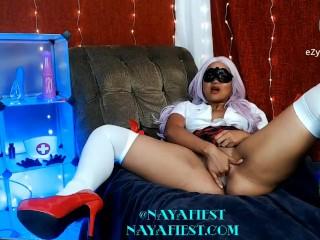 Naughty school girl Naya Fiest masturbates for the camera.