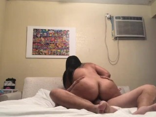 Chunky wife with ass rides my cock