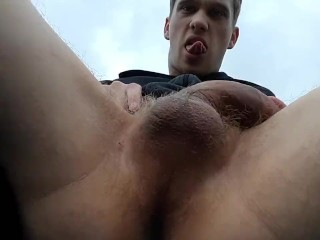 JACKING OFF OUTSIDE AND EATING MY OWN CUM