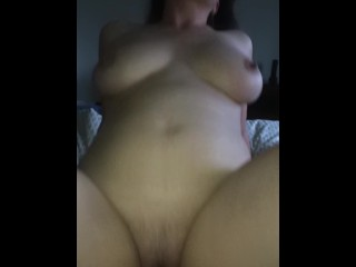 Slut wife riding dick and bouncing tits