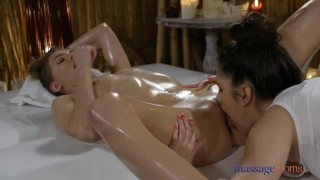 Massage Rooms Oil Soaked Lesbian Sex With Big Tits Euro Teen