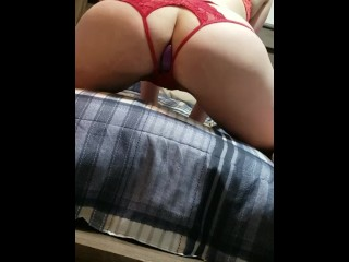 Twerking in crotchless panties with ass plug