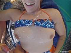 Happiest Girl, Biggest Cumshot! - MILF outdoor fuck - handjob cum on tits