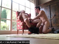 twink and jock exchange blow jobs in front of fireplace in Amsterdam