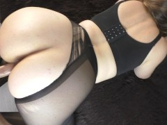 Young Schoolgirl with Big Ass Pantyhose Fucks in Pussy