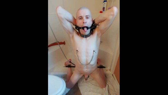 Gay clean ass Slave restrained for morning cleaning out routine
