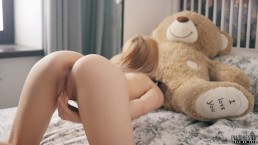 Petite teen girl Maya sucks and swallows big black cock with teddy bear