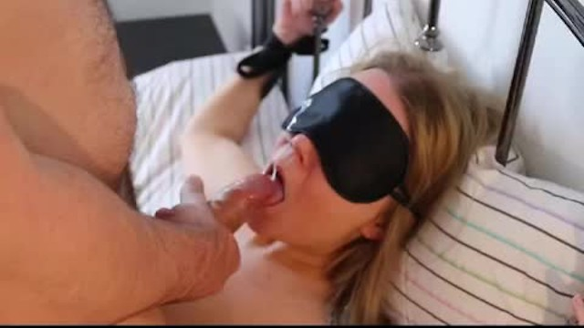 Wife blow job deep throat Deep throat blow job while tied up results in huge facial