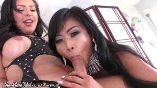 Shemale Idol-Cis Asian Cutie Loves Chanel Santini's Big Cock!