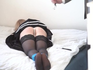 I Caught My Mom Handcuffed schoolgirl spanked with a belt