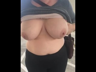Slut wife flashes tits in public