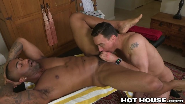 Anal ebony gay Hothouse cut masseur eats fine ebony ass b4 making his cock happy in ass