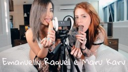 ASMR 3DIO Blowjob Emanuelly Raquel And Marukarv Brazilian Girls ORAL BBC