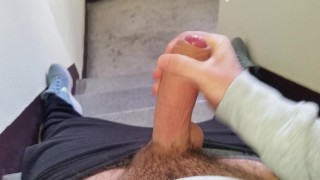 Man masturbating in the elevator gets almost caught by neighbor