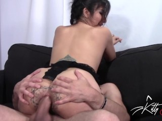 Eating fat ass creampie, pussy fucked so hard with hard cock throbbing inside cum sl
