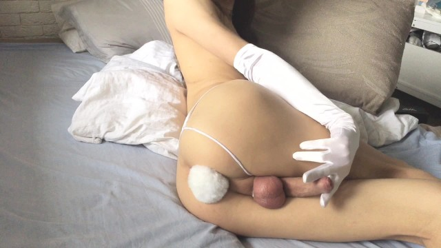 Giant gay butt plug Femboy playing with bunny tale butt plug and masturbating with gloves