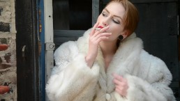 Pierced Babe Smoking in Fur & Leather