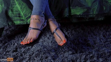 Showing Off My Vitamin-C Orange Nails In Ankle Strap Sandals