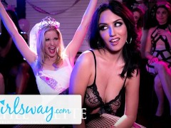 Girlsway Bride's Bachelorette Stripper Licks & Tribs her As Party Watches