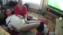 Tightly bound and gagged footballer gets his ballsbusted by femdom